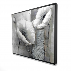 Framed 48 x 60 - 3D - Industrial monochrome flowers