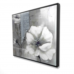 Framed 48 x 60 - 3D - Monochrome and silver flowers