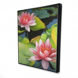 Framed 48 x 60 - 3D - Water lilies and lotus flowers