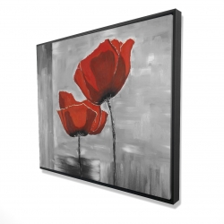 Framed 48 x 60 - 3D - Two red flowers on a grayscale background