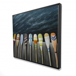 Framed 48 x 60 - 3D - Colorful paddles on the dock