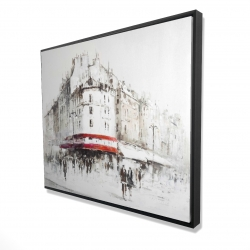 Framed 48 x 60 - 3D - White street with red accents