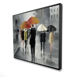 Framed 48 x 60 - 3D - Street scene with umbrellas