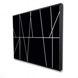 Framed 48 x 60 - 3D - White stripes on black background