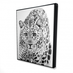 Framed 48 x 60 - 3D - Leopard ready to attack