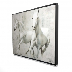 Framed 48 x 60 - 3D - Two white horse running