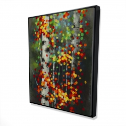 Framed 48 x 60 - 3D - Colorful dotted leaves birches