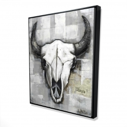 Framed 48 x 60 - 3D - Industrial style bull skull