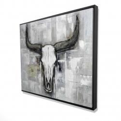 Framed 48 x 60 - 3D - Bull skull on an industrial background