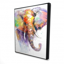 Framed 48 x 60 - 3D - Beautiful and colorful elephant