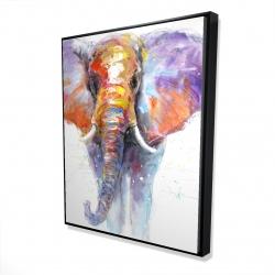 Framed 48 x 60 - 3D - Colorful walking elephant