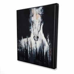 Framed 48 x 60 - 3D - Abstract white horse on black background