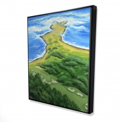 Framed 48 x 60 - 3D - Island overhead view with waves