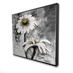 Framed 48 x 60 - 3D - Abstract daisies flowers