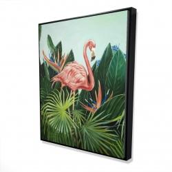 Framed 48 x 60 - 3D - Tropical flamingo