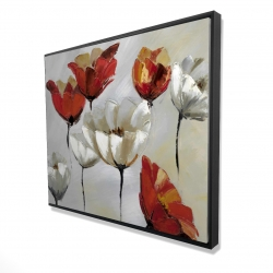 Framed 48 x 60 - 3D - Abstract red and white flowers
