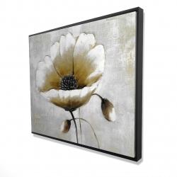 Framed 48 x 60 - 3D - Modern beige flower