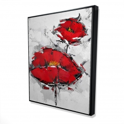Framed 48 x 60 - 3D - Texturized red poppies