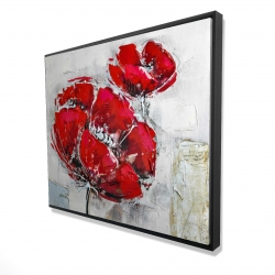 Framed 48 x 60 - 3D - Abstract and texturized red flowers