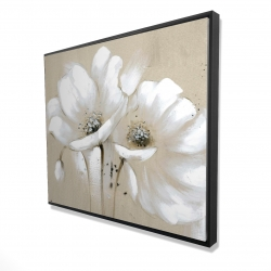 Framed 48 x 60 - 3D - White abstract wild flowers