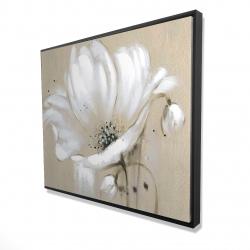 Framed 48 x 60 - 3D - White abstract wild flower