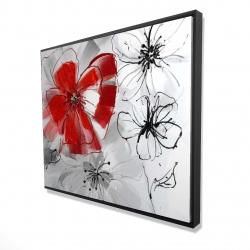 Framed 48 x 60 - 3D - Red & gray flowers