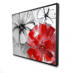 Framed 48 x 60 - 3D - Red & white flowers sketch