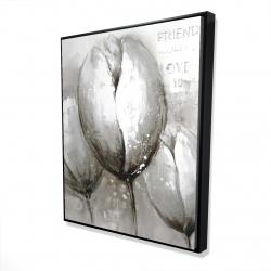 Framed 48 x 60 - 3D - Three white tulips