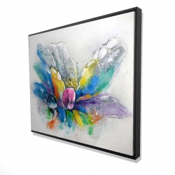 Framed 48 x 60 - 3D - Abstract flower with newspaper
