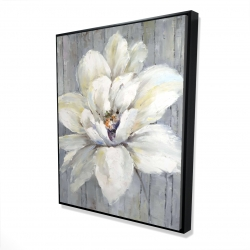 Framed 48 x 60 - 3D - White flower on wood