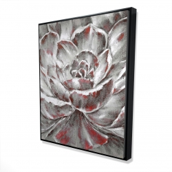 Framed 48 x 60 - 3D - Gray and pink flower