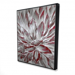 Framed 48 x 60 - 3D - Red and gray flower