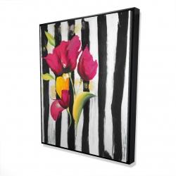 Framed 48 x 60 - 3D - Pink flowers on black stripes