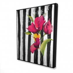 Framed 48 x 60 - 3D - Flowers on black and white stripes