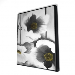 Framed 48 x 60 - 3D - Black and white flowers