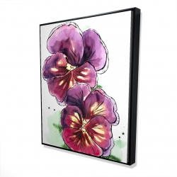 Framed 48 x 60 - 3D - Two blossoming orchid with wavy petals