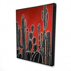 Framed 48 x 60 - 3D - Black tall cactus