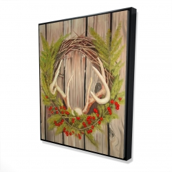 Framed 48 x 60 - 3D - Christmas wreath with panache