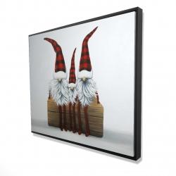 Framed 48 x 60 - 3D - Three christmas gnomes