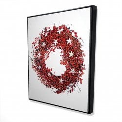 Framed 48 x 60 - 3D - Red berry wreath