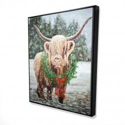 Framed 48 x 60 - 3D - Highland christmas cow