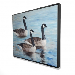 Framed 48 x 60 - 3D - Canada geese in water