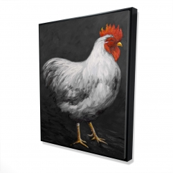 Framed 48 x 60 - 3D - Grey rooster 2