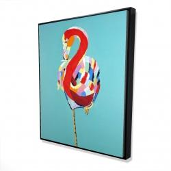 Framed 48 x 60 - 3D - Colorful flamingo