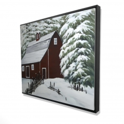 Framed 48 x 60 - 3D - Red barn in snow