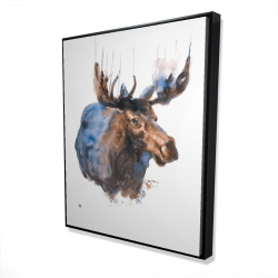 Framed 48 x 60 - 3D - Abstract blue moose