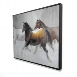 Framed 48 x 60 - 3D - Herd of wild horses