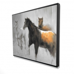 Framed 48 x 60 - 3D - Abstract herd of horses