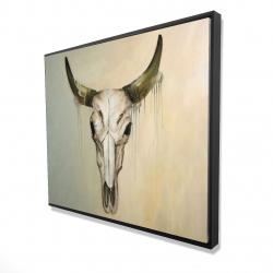 Framed 48 x 60 - 3D - Color fading bull skull