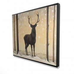 Framed 48 x 60 - 3D - Roe deer in winter